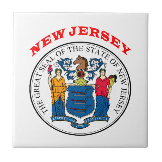Great Seal Of  State New Jersey Small Square Tile