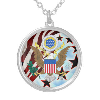 Great seal of the United States Silver Plated Necklace