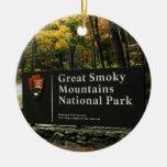 Great Smoky Mountain Autumn Sign Christmas Round Ceramic Decoration