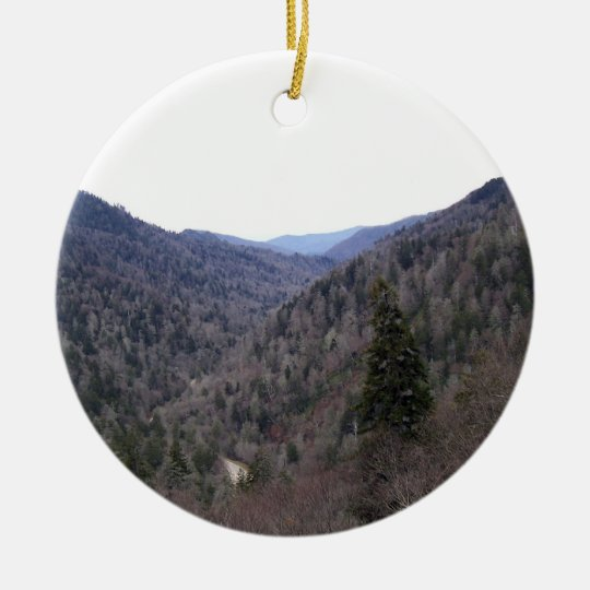 Great Smoky Mountains Cold Day Round Ceramic Decoration