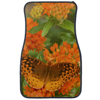 Great Spangled Fritillaries on Butterfly Milkweed Car Mat