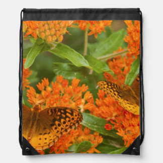 Great Spangled Fritillaries on Butterfly Milkweed Drawstring Bag