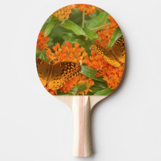 Great Spangled Fritillaries on Butterfly Milkweed Ping Pong Paddle