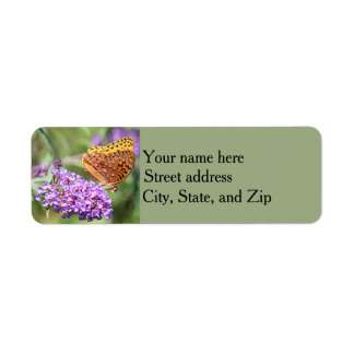 Great spangled fritillary butterfly profile return address label