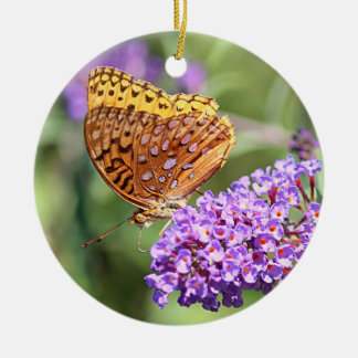 Great spangled fritillary butterfly profile round ceramic decoration