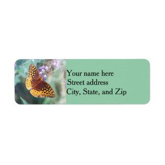 Great spangled fritillary butterfly return address label