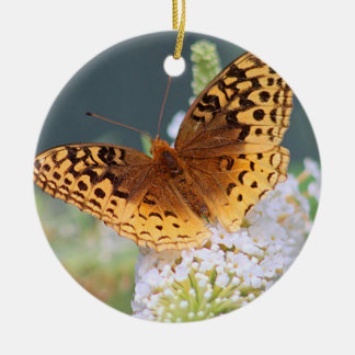 Great spangled fritillary butterfly round ceramic decoration