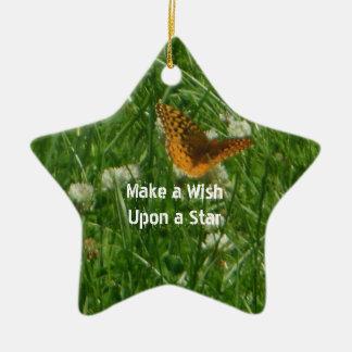 Great Spangled Fritillary Star Shape Ornament Ceramic Star Ornament