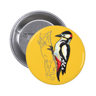 great spotted woodpecker 6 cm round badge
