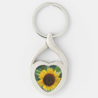 Great Sunflower Silver-Colored Twisted Heart Key Ring