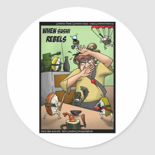 Great Sushi Rebellion Funny Gifts Tees Cards Etc Sticker