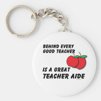 Great Teacher Aide Basic Round Button Key Ring