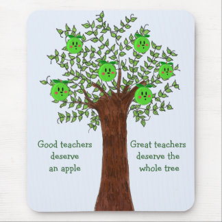 Great Teacher Apple Tree Design Mouse Pad
