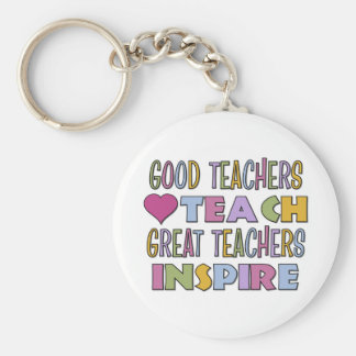 Great Teachers Inspire Basic Round Button Key Ring