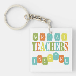 Great Teachers Inspire Double-Sided Square Acrylic Key Ring
