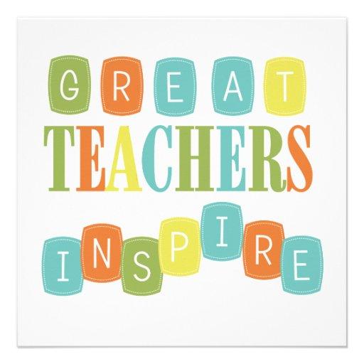 Great Teachers Inspire Custom Invitation