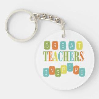 Great Teachers Inspire Single-Sided Round Acrylic Key Ring
