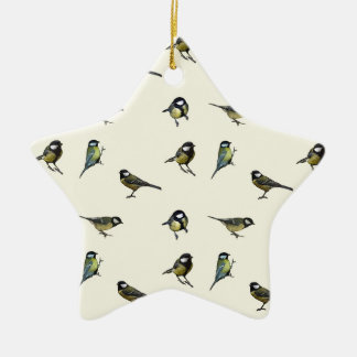Great tit pattern christmas ornament