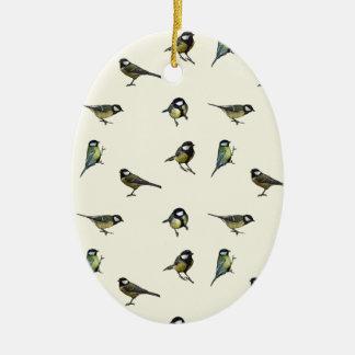 Great tit pattern christmas ornament