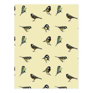 Great tit pattern postcard