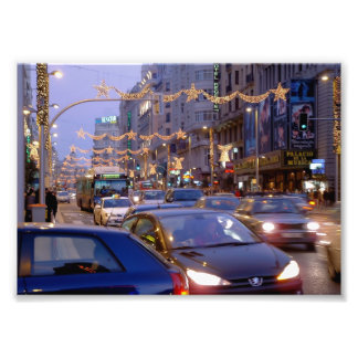 Great Via of Madrid in Christmas Photo Print
