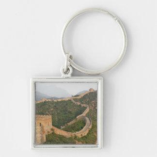 Great Wall of China at Jinshanling, China, Asia Silver-Colored Square Key Ring
