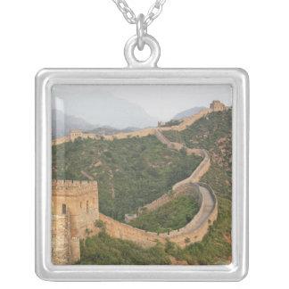 Great Wall of China at Jinshanling, China, Asia Silver Plated Necklace