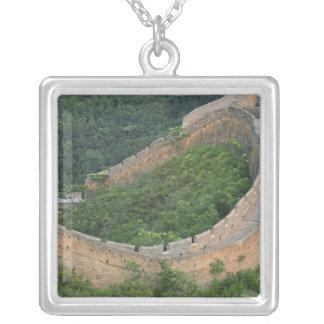 Great Wall of China at Jinshanling, China. Silver Plated Necklace