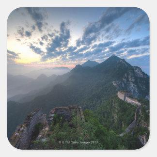 Great Wall of China, JianKou unrestored section. 8 Square Sticker