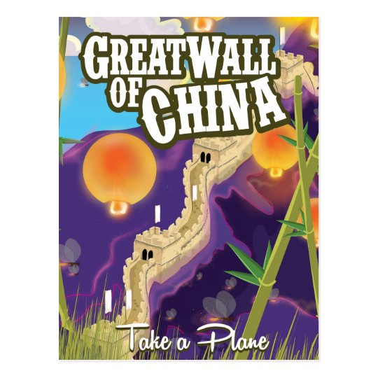 Great wall of china travel poster postcard