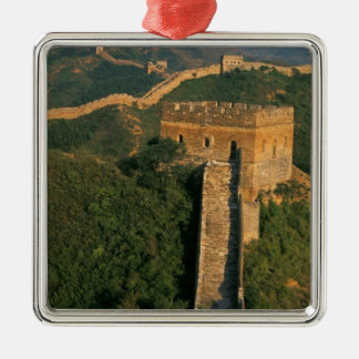 Great Wall winding through the mountain, China Silver-Colored Square Decoration