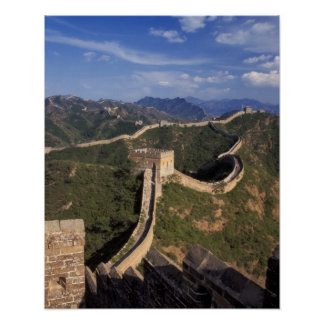 Great Wall winding through the mountain Posters