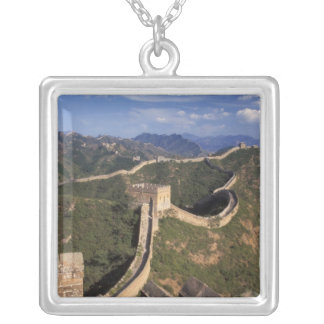 Great Wall winding through the mountain, Silver Plated Necklace
