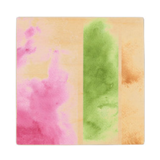 great watercolor background - watercolor paints 6 maple wood coaster