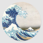 Great Wave Hokusai 葛飾北斎の神奈川沖浪裏 Round Stickers