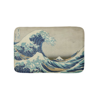 Great Wave off Kanagawa Hokusai famous wave Japan Bath Mats