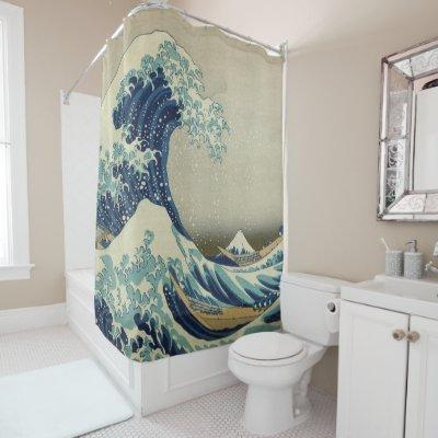 Restored Great Wave Off Kanagawa By Hokusai Shower Curtain