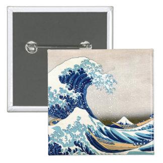 Great Wave Off Kanagawa Hokusai Fine Art 15 Cm Square Badge
