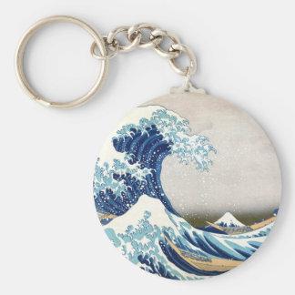 Great Wave Off Kanagawa Hokusai Fine Art Basic Round Button Key Ring