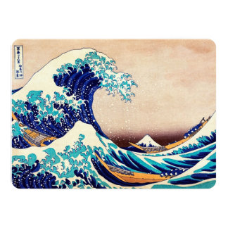 Great Wave Off Kanagawa Japanese Vintage Fine Art 14 Cm X 19 Cm Invitation Card