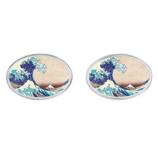 Great Wave Off Kanagawa Japanese Vintage Fine Art Silver Finish Cufflinks