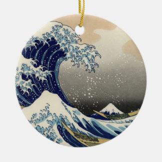 Great Wave off Kanagawa Oriental Fine Art Christmas Ornament