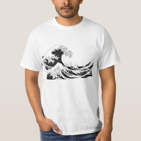 """""""Great Wave"""" T-Shirt, Black and White Size L"""