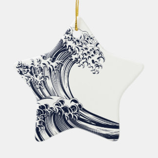 Great Wave Vintage Style Woodcut Ceramic Star Decoration