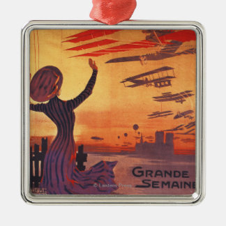 Great Week of Aviation - Woman Waving Poster Silver-Colored Square Decoration
