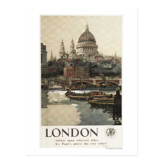 Great Western Railway St. Paul's Travel Poster Postcard