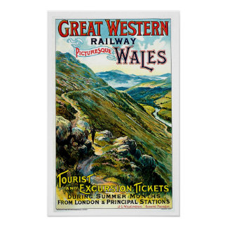 Great Western Railway Wales Vintage Travel Art Poster