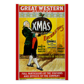 Great Western Railway Xmas Excursions Poster