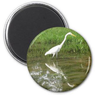 Great White Egret 6 Cm Round Magnet