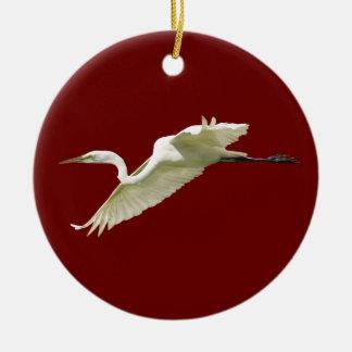 great white egret christmas ornament